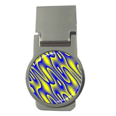 Blue Yellow Wave Abstract Background Money Clips (Round)
