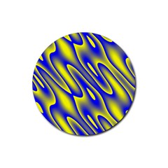Blue Yellow Wave Abstract Background Rubber Coaster (round)