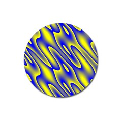 Blue Yellow Wave Abstract Background Magnet 3  (Round)