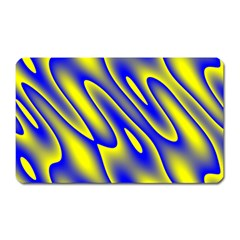 Blue Yellow Wave Abstract Background Magnet (Rectangular)