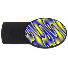 Blue Yellow Wave Abstract Background USB Flash Drive Oval (1 GB)