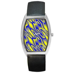 Blue Yellow Wave Abstract Background Barrel Style Metal Watch