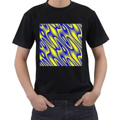 Blue Yellow Wave Abstract Background Men s T Shirt (black) (two Sided)