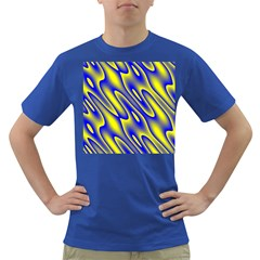 Blue Yellow Wave Abstract Background Dark T-Shirt