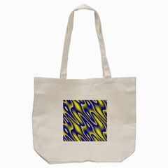 Blue Yellow Wave Abstract Background Tote Bag (Cream)