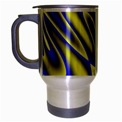 Blue Yellow Wave Abstract Background Travel Mug (silver Gray)