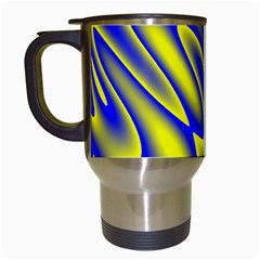 Blue Yellow Wave Abstract Background Travel Mugs (White)