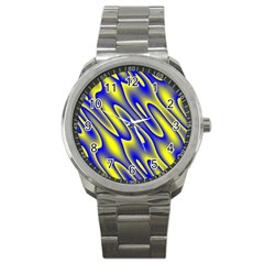 Blue Yellow Wave Abstract Background Sport Metal Watch