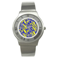 Blue Yellow Wave Abstract Background Stainless Steel Watch