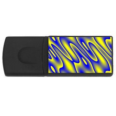 Blue Yellow Wave Abstract Background USB Flash Drive Rectangular (4 GB)