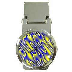 Blue Yellow Wave Abstract Background Money Clip Watches