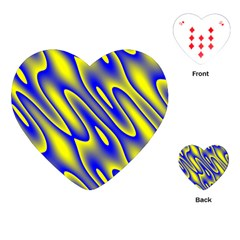 Blue Yellow Wave Abstract Background Playing Cards (heart)