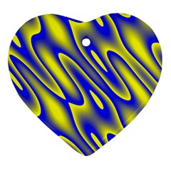 Blue Yellow Wave Abstract Background Heart Ornament (two Sides)