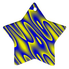 Blue Yellow Wave Abstract Background Star Ornament (two Sides)
