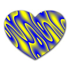 Blue Yellow Wave Abstract Background Heart Mousepads