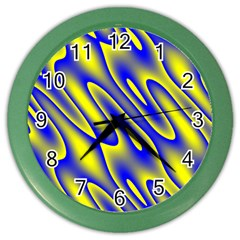 Blue Yellow Wave Abstract Background Color Wall Clocks