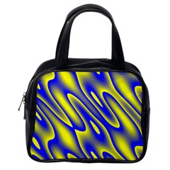 Blue Yellow Wave Abstract Background Classic Handbags (One Side)