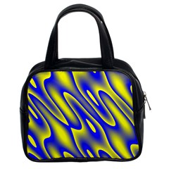 Blue Yellow Wave Abstract Background Classic Handbags (2 Sides)