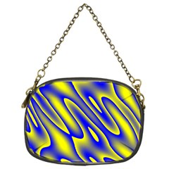 Blue Yellow Wave Abstract Background Chain Purses (one Side)