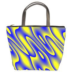 Blue Yellow Wave Abstract Background Bucket Bags