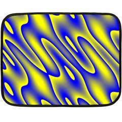 Blue Yellow Wave Abstract Background Double Sided Fleece Blanket (mini)