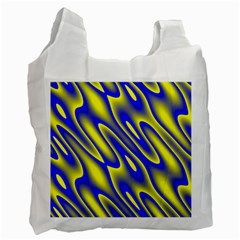 Blue Yellow Wave Abstract Background Recycle Bag (Two Side)