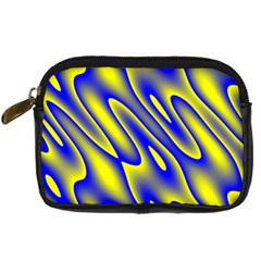 Blue Yellow Wave Abstract Background Digital Camera Cases