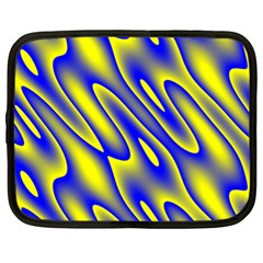 Blue Yellow Wave Abstract Background Netbook Case (XL)