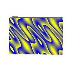 Blue Yellow Wave Abstract Background Cosmetic Bag (Large)