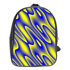 Blue Yellow Wave Abstract Background School Bags(large)