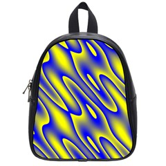 Blue Yellow Wave Abstract Background School Bags (small)