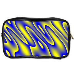 Blue Yellow Wave Abstract Background Toiletries Bags