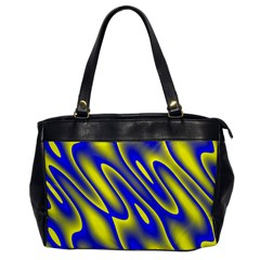 Blue Yellow Wave Abstract Background Office Handbags