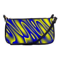 Blue Yellow Wave Abstract Background Shoulder Clutch Bags
