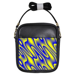 Blue Yellow Wave Abstract Background Girls Sling Bags