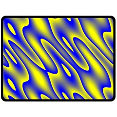 Blue Yellow Wave Abstract Background Fleece Blanket (large)