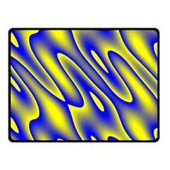 Blue Yellow Wave Abstract Background Fleece Blanket (Small)