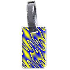 Blue Yellow Wave Abstract Background Luggage Tags (one Side)
