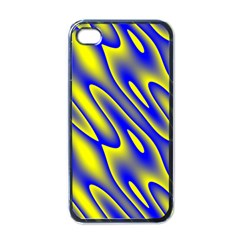 Blue Yellow Wave Abstract Background Apple iPhone 4 Case (Black)