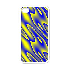 Blue Yellow Wave Abstract Background Apple iPhone 4 Case (White)