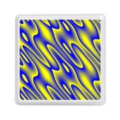 Blue Yellow Wave Abstract Background Memory Card Reader (Square)