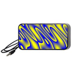 Blue Yellow Wave Abstract Background Portable Speaker (black)