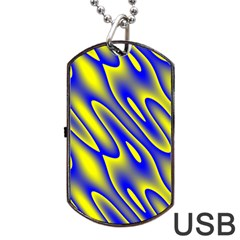 Blue Yellow Wave Abstract Background Dog Tag USB Flash (One Side)
