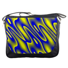 Blue Yellow Wave Abstract Background Messenger Bags