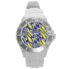 Blue Yellow Wave Abstract Background Round Plastic Sport Watch (L)