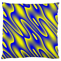 Blue Yellow Wave Abstract Background Large Cushion Case (two Sides)