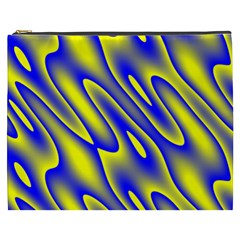 Blue Yellow Wave Abstract Background Cosmetic Bag (XXXL)