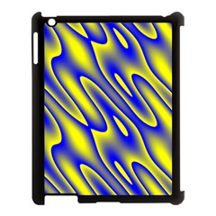 Blue Yellow Wave Abstract Background Apple Ipad 3/4 Case (black)