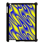 Blue Yellow Wave Abstract Background Apple iPad 3/4 Case (Black) Front