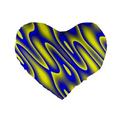 Blue Yellow Wave Abstract Background Standard 16  Premium Heart Shape Cushions